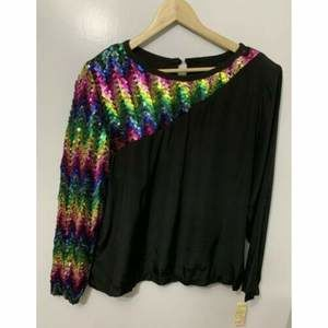 Susan Graver Vintage Rainbow Sequin Top